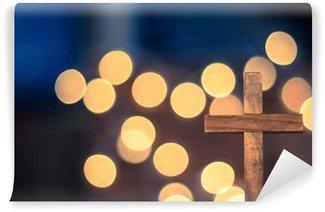 Vinylová Fototapeta Dřevěný kříž a rozostření světla