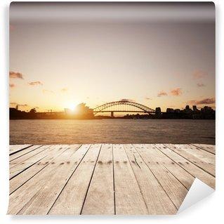 Fototapeta Winylowa Drewnianą deskę i sydney punktów orientacyjnych