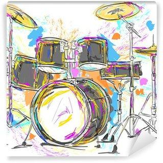 Vinylová Fototapeta Drum Malba Vector Art