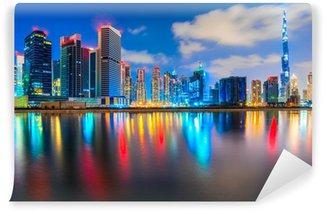 Fototapeta Vinylowa Dubai skyline o zmierzchu, Dubaj.