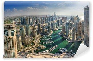 Vinylová Fototapeta DUBAI, UAE - říjen 10: Moderní budovy v Dubai Marina, Dubaj
