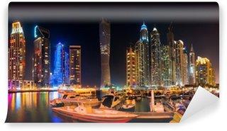 Vinylová Fototapeta Dubaj panorama v noci