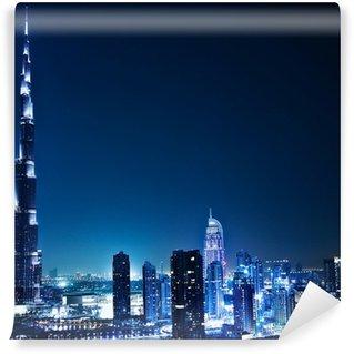Vinylová Fototapeta Dubaj v centru města v noci