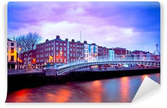 Vinylová Fototapeta Dublin Irsko za soumraku s nábřeží a Ha'penny Bridge