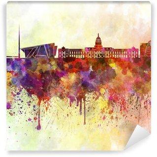 Vinylová Fototapeta Dublin panorama v akvarelu pozadí