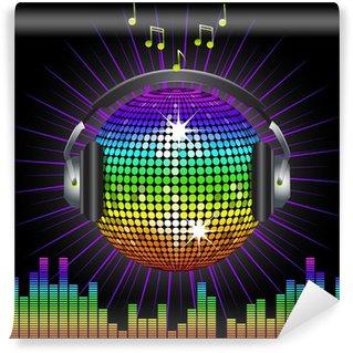 Vinylová Fototapeta Duha disco koule a sluchátka
