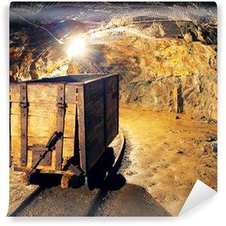 Vinylová Fototapeta Důlní vozík v stříbro, zlato, dolu na měď