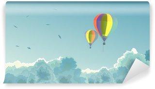 Vinylová Fototapeta Dva balóny na obloze s mraky.