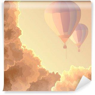Vinylová Fototapeta Dva balóny, obloha a mraky.