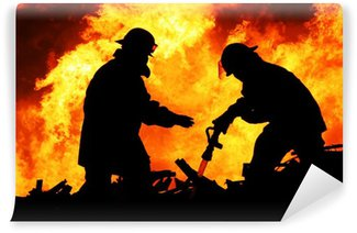 Vinylová Fototapeta Dva hasiči a Obrovské plameny