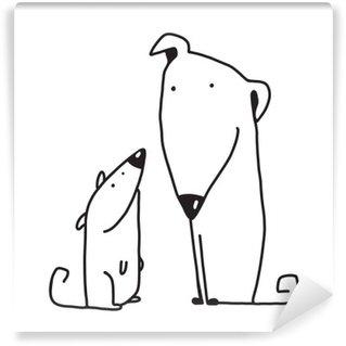 Vinylová Fototapeta Dva kreslený hnědý pes rodič a dítě