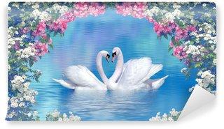Vinylová Fototapeta Dvě labutě orámovaný kvetoucí květiny