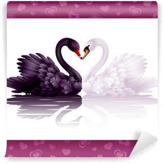 Vinylová Fototapeta Dvě půvabné labutě v lásce: černo-bílá srdce
