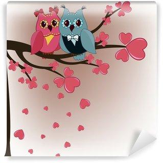 Vinylová Fototapeta Dvě sovy na stromě milovníky s srdce