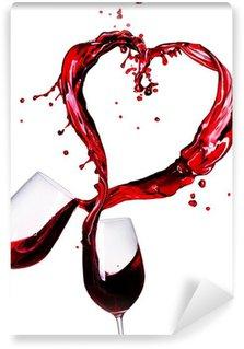 Fototapeta Winylowa Dwa kieliszki czerwonego wina plusk abstrakcyjne serca