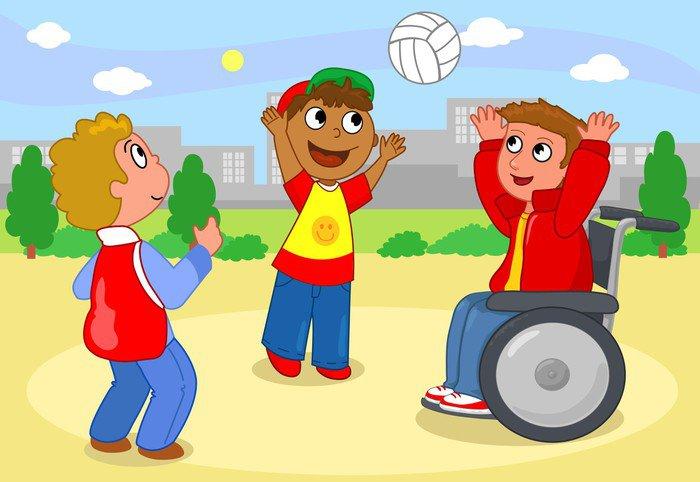 Fototapeta Winylowa Dwoje dzieci gry w siatkówkę z chłopcem na wózku inwalidzkim. - Zdrowie i medycyna
