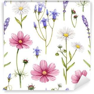 Fototapeta Winylowa Dzikie kwiaty ilustracji. Akwarela bez szwu deseń