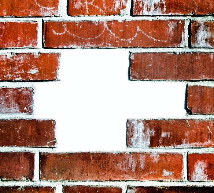Fototapeta Vinylowa Dziura w uszkodzonej ściany grungy cegła - Tematy