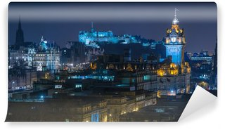 Vinylová Fototapeta Edinburgh Skyline at Night