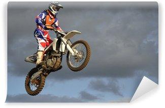 Vinylová Fototapeta Efektní skok moto závodník na motocyklu