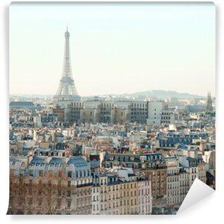Vinylová Fototapeta Eiffelova věž a střechy Paříže