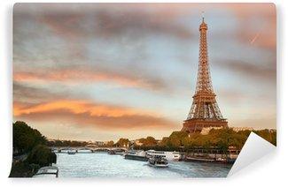 Vinylová Fototapeta Eiffelova věž s čluny na Siene v Paříži, Francie