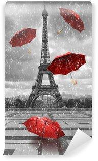 Vinylová Fototapeta Eiffelova věž s létající deštníky.