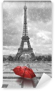 Vinylová Fototapeta Eiffelova věž v dešti. Černobílá fotografie s červeným prvkem