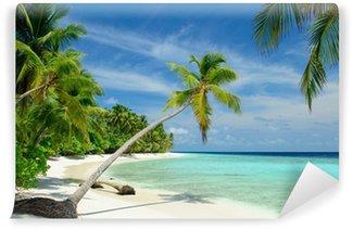 Vinylová Fototapeta Einsamer Strand mit Palmen