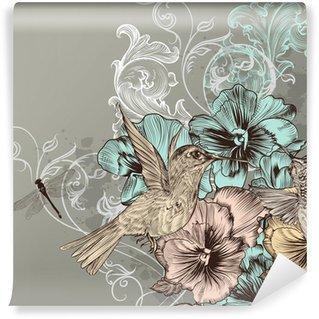 Vinylová Fototapeta Elegantní květinové pozadí s květinami a kolibříky