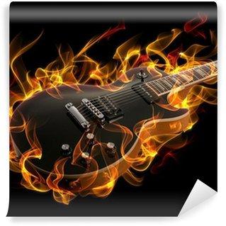 Vinylová Fototapeta Elektrická kytara v ohni a plameny