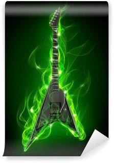 Vinylová Fototapeta Elektrická kytara v zeleném ohni a plameny