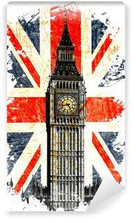 Fototapeta Vinylowa English flag Big Ben w pionie