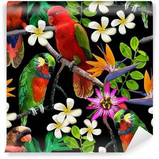 Vinylová Fototapeta Exotického ptactva a krásné květiny