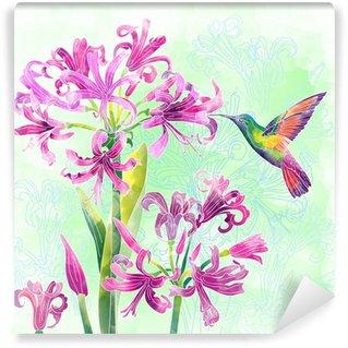 Vinylová Fototapeta Exotických květin a ptáků