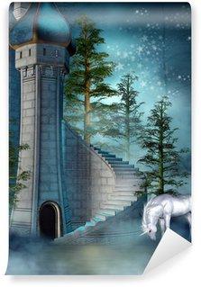 Vinylová Fototapeta Fairy hradní věž s jednorožcem