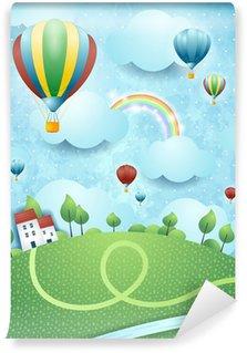 Vinylová Fototapeta Fantasy krajiny s horkovzdušných balónů a řeky