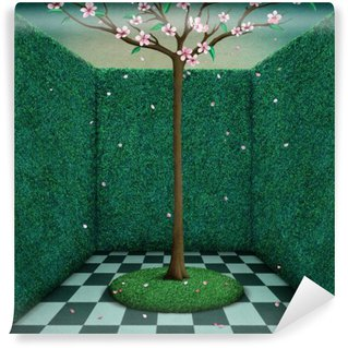 Vinylová Fototapeta Fantasy příběh obrázek nebo plakát zelený pokoj a Tree