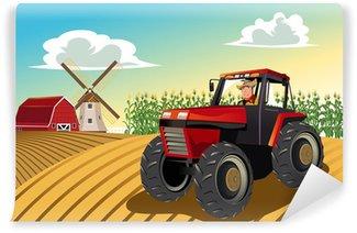 Vinylová Fototapeta Farmer jízda na traktoru