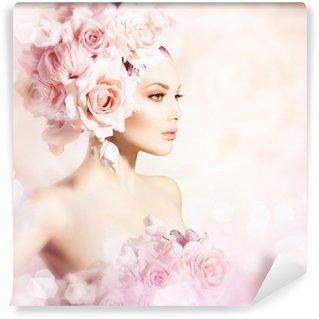 Vinylová Fototapeta Fashion Beauty Model dívka s květy vlasy. Nevěsta