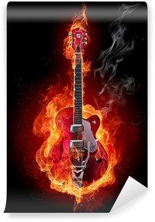 Vinylová Fototapeta Fire kytara
