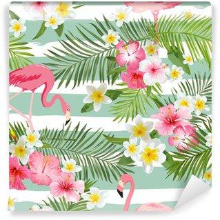 Fototapeta Vinylowa Flamingo tła. Tropikalne kwiaty tle. Rocznika bezszwowe wzór
