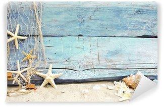 Vinylová Fototapeta Flotsam proti modré dřevo s rybářskou sítí