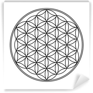 Vinylová Fototapeta Flower of Life symbol černé a bílé 1