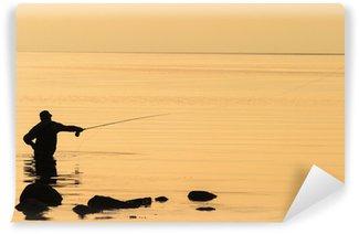 Vinylová Fototapeta Flyfishing v západu slunce