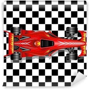 Vinylová Fototapeta Formule 1 Red Race Car na pozadí kostkovaný