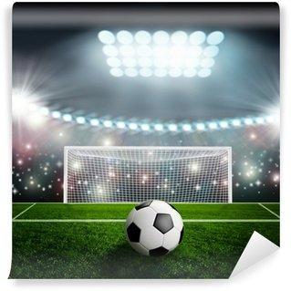 Vinylová Fototapeta Fotbalový míč na zelené stadionu aréně