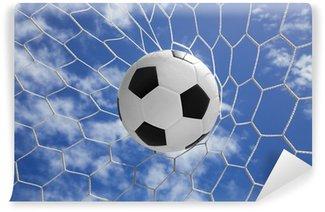 Vinylová Fototapeta Fotbalový míč v brance s modrou oblohou