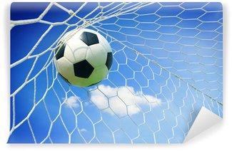 Vinylová Fototapeta Fotbalový míč v cíli s modrou oblohou