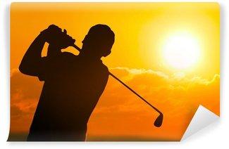 Vinylová Fototapeta Foto Golfista v západu slunce